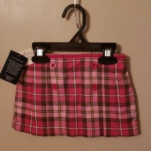 Pink & green plaid pleated skirt w/attached shorts